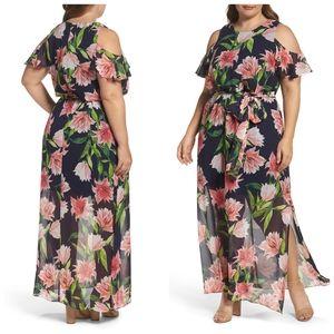 Eliza J Floral Cold Shoulder Navy Blue Maxi Dress